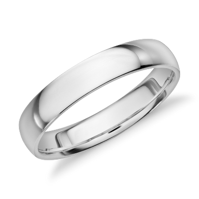 mid weight comfort fit wedding band in 14k white gold 4mm