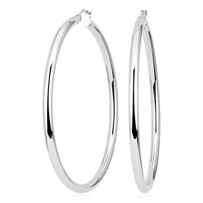 Statement Polished Hoop Earrings in Sterling Silver (2 3/8