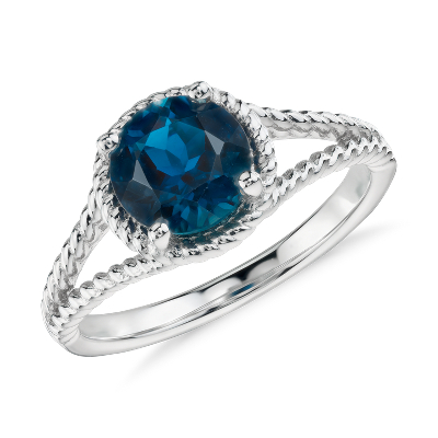 London Blue Topaz Rope Ring In Sterling Silver 7mm