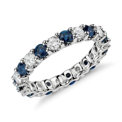Luna Sapphire And Diamond Eternity Ring In Platinum 1 Ct