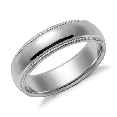 milgrain comfort fit wedding ring in platinum 6mm