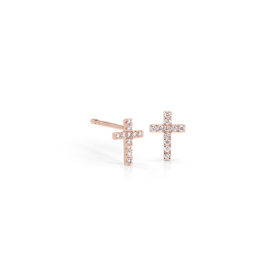 Mini Diamond Cross Stud Earrings 14k Rose Gold (1/12 ct