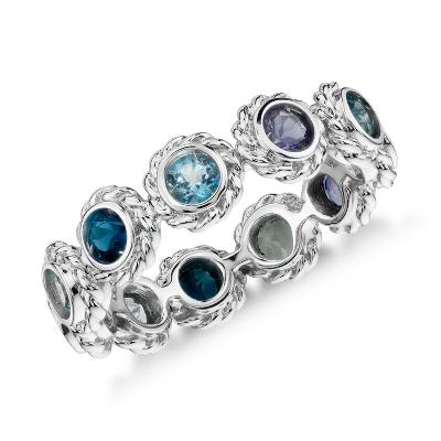 Multi Gemstone Eternity Confetti Ring In 14k White Gold