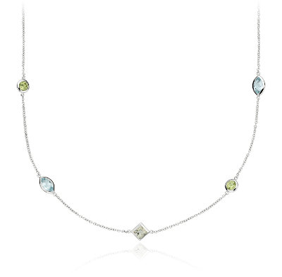 Multicolor Gemstone Confetti Necklace In 14k White Gold