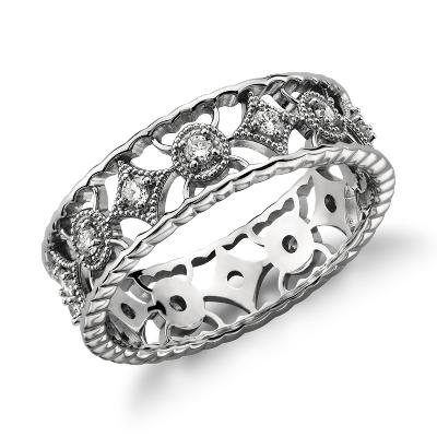 Open Filigree Diamond Eternity Ring In Platinum 13 Ct