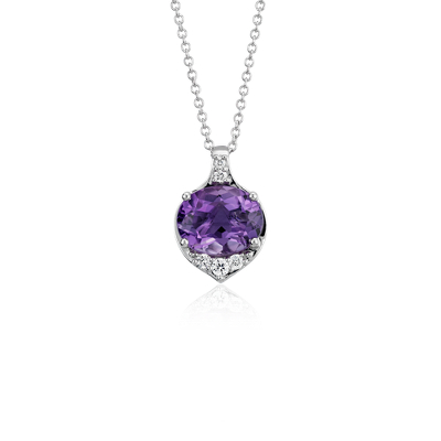 Oval Amethyst And Diamond Pendant In 14k White Gold 10x8