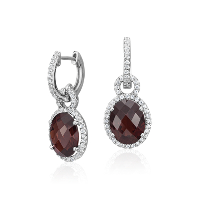 Garnet And White Sapphire Halo Oval Drop Earrings In