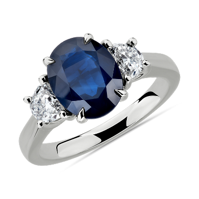 Oval Sapphire and Diamond Ring in Platinum 10x8mm  Blue