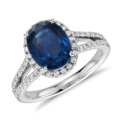Oval Sapphire And Diamond Halo Split Shank Ring In 18k