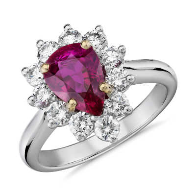 PearShaped Ruby and Diamond Starburst Halo Ring in