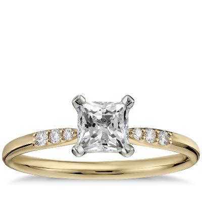 1 2 Carat Preset Princess-cut Petite Diamond Engagement Ring In 14k Yellow Gold Blue Nile