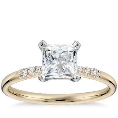 1 Carat Preset Princess-cut Petite Diamond Engagement Ring In 14k Yellow Gold Blue Nile