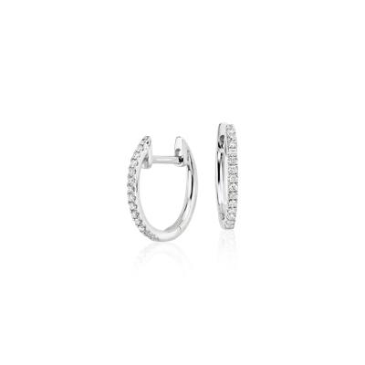 Petite Diamond Huggie Hoop Earrings In 14k White Gold 1