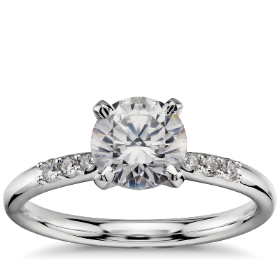 1 Carat Preset Petite Diamond Engagement Ring In Platinum Blue Nile