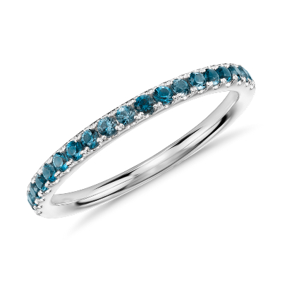 Riviera Pav Blue Topaz Ring In 14k White Gold 15mm
