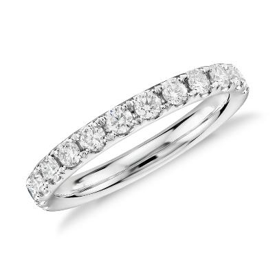 Riviera Pav Diamond Ring In Platinum 12 Ct Tw Blue