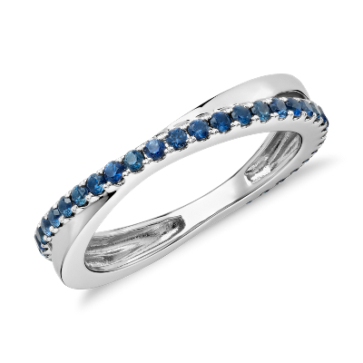 Riviera Pav Sapphire Infinity Eternity Ring In 14k White