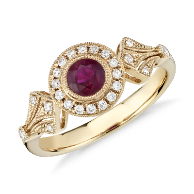 Ruby and Diamond Halo VintageInspired Milgrain Ring in