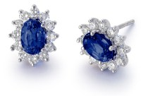 Sapphire and Diamond Earrings in 18k White Gold (7x5mm ...