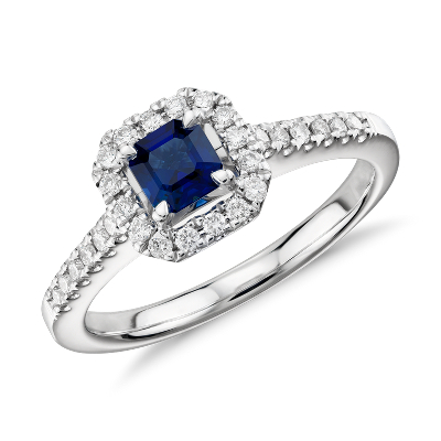 Asscher Cut Sapphire and Diamond Halo Ring in 14k White