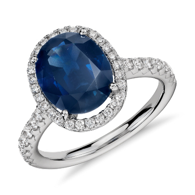 Oval Sapphire And Diamond Halo Micropav 233 Ring In 18k White