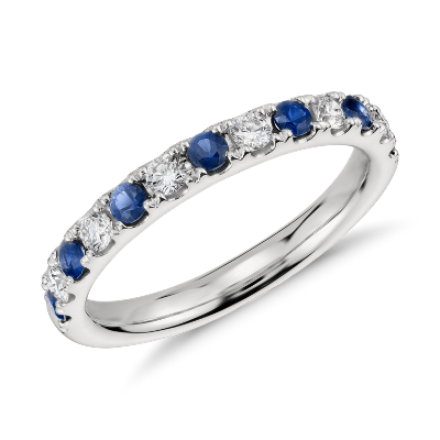 Bague diamant et saphir pav Riviera en platine  Blue Nile
