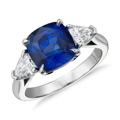 CushionCut Sapphire and Diamond ThreeStone Ring in