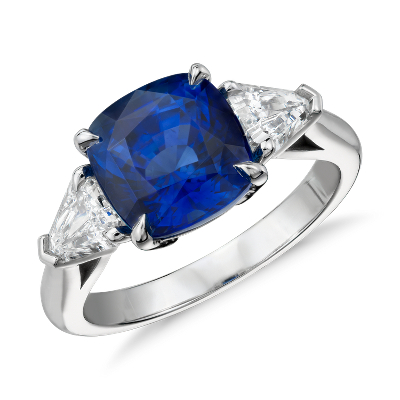 Cushion Cut Sapphire And Diamond Three Stone Ring In Platinum 4 27 Ct Center Blue Nile