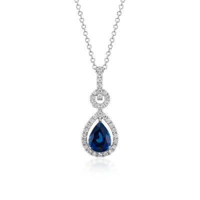 Floating Sapphire and Diamond Pear Pendant in 14k White