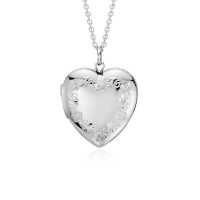 Floral Engraved Heart Locket In Sterling Silver Blue Nile