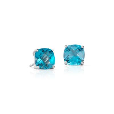 Swiss Blue Topaz Cushion Earrings in Sterling Silver 8mm
