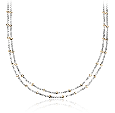 TwoTone Layered Bead Station Necklace in Sterling Silver and 14k Yellow Gold  Blue Nile