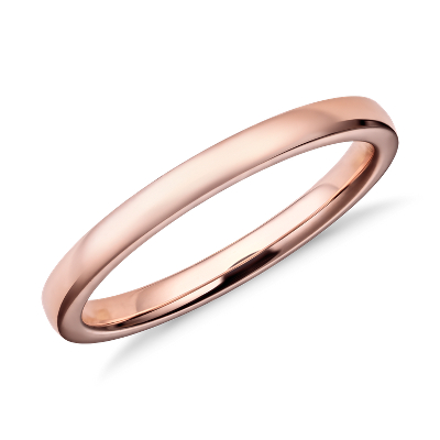 Low Dome Comfort Fit Wedding Ring In 14k Rose Gold 2mm