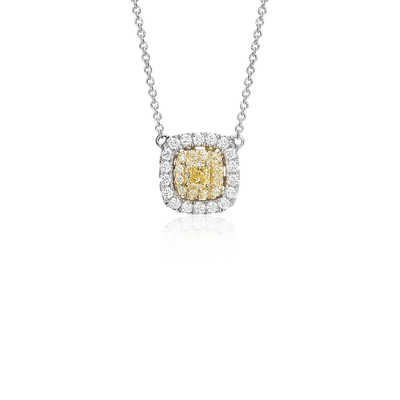 Yellow Diamond Cushion Necklace In 18k White And Yellow