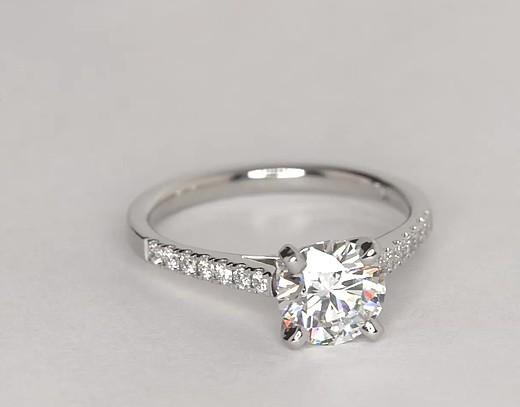 Petite Cathedral Pav Diamond Engagement Ring in Platinum 16 ct tw  Blue Nile