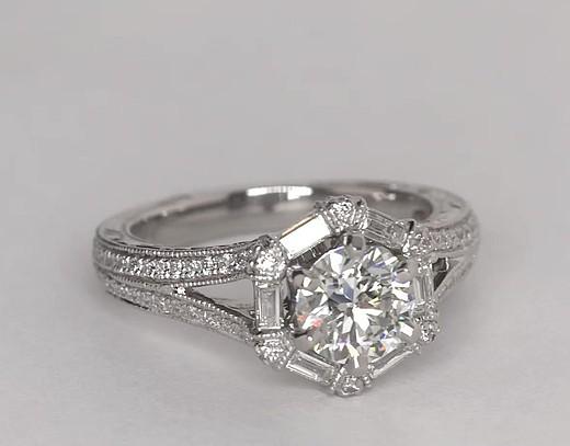 Monique Lhuillier Hexagon Baguette Diamond Engagement Ring