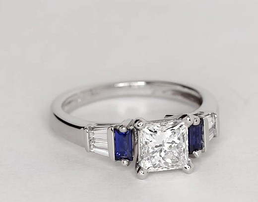 Robert Leser BaguetteCut Sapphire and Diamond Engagement Ring in 18k White Gold  Blue Nile