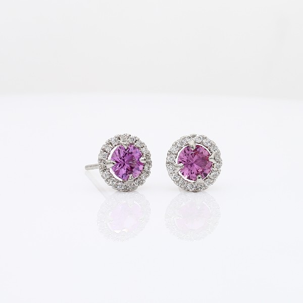 Pink Sapphire and Micropave Diamond Stud Earrings in 18k