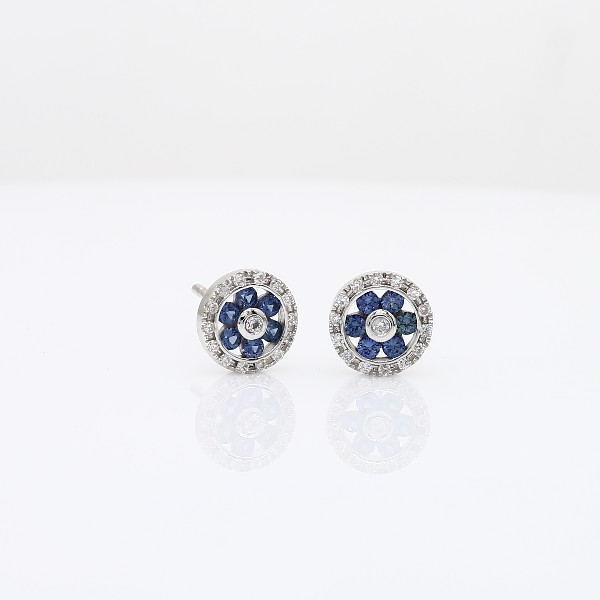 Sapphire and Diamond Floral Stud Earrings in 14k White