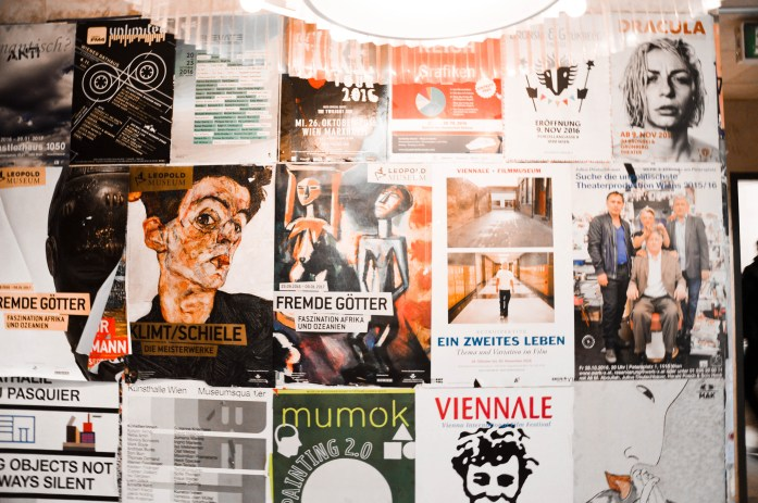 posters in the restaurant of Leopold Museum