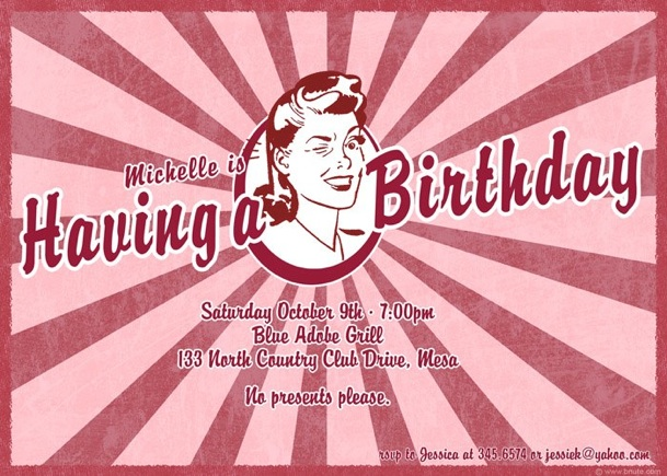 Retro Wow Birthday Bridal Shower Wedding Shower Party Invitations Decorations Art Activites