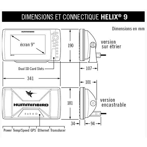 Combiné Helix 9G2 CHIRP HD Sondeur GPS Humminbird ; Delta