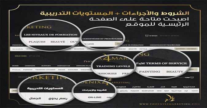 الشروط والإجراءات والمستويات التدريبية على الواجهة الرئيسة لموقع P4M