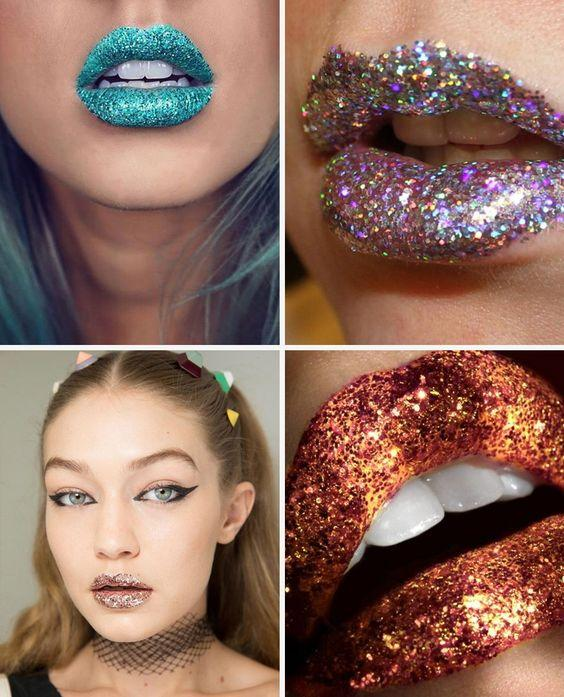 glitter nos lábios
