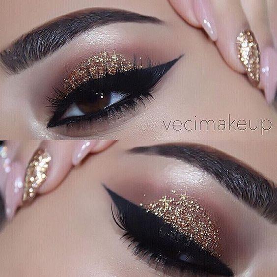 maquiagem com glitter nos olhos