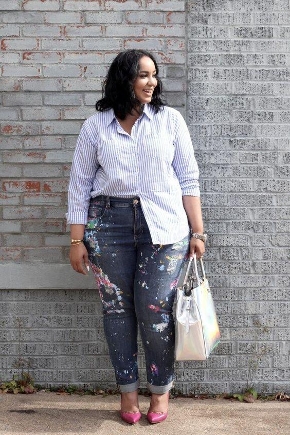 blusa com listras moda plus size