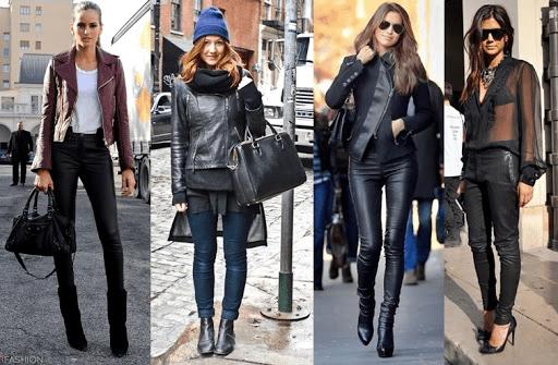 moda outono inverno com couro