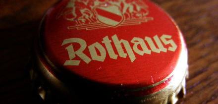 The cap from a bottle of Rothaus Tanen Zapfle
