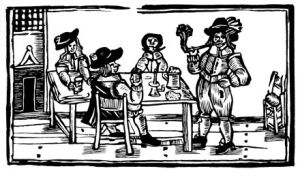 A woodcut of an Elizabethan tavern scene