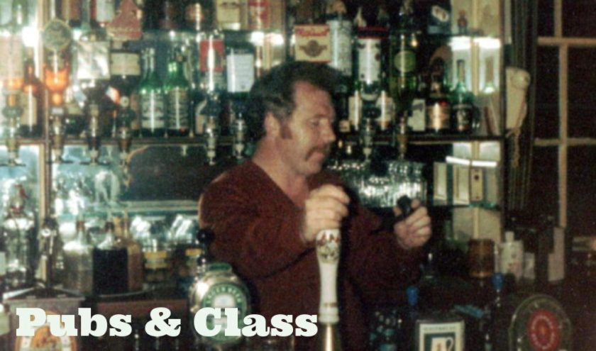 1980s photo of Dad pulling a pint.